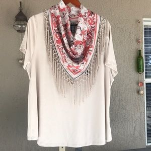 Style & Co short sleeve top detachable scarf NWT